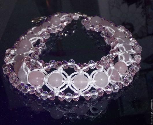 Свадебные украшения ручной работы. Ярмарка Мастеров - ручная работа. Купить Ожерелье из розового кварца. Handmade. Бледно-розовый