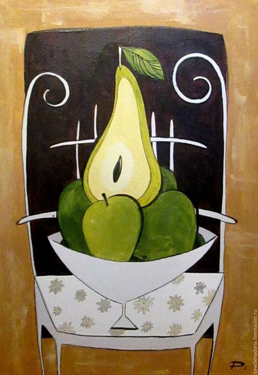 """Натюрморт ручной работы. Ярмарка Мастеров - ручная работа. Купить Картина маслом на холсте """"Уважаемая груша"""". Handmade. Комбинированный, фрукты"""