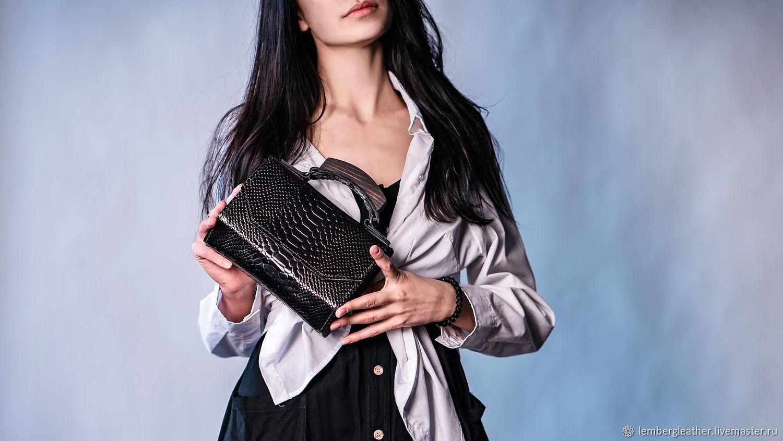 Women's handbag: ' Idol ' Python-plum, Classic Bag, Moscow,  Фото №1