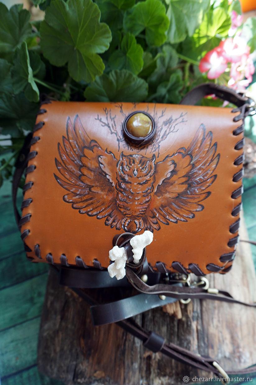 Small leather handbag with owl and agate, Classic Bag, Chelyabinsk,  Фото №1
