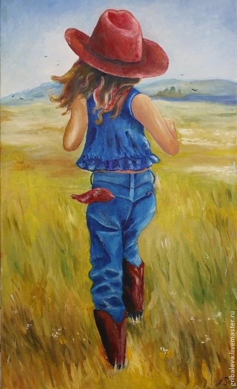 Люди, ручной работы. Ярмарка Мастеров - ручная работа. Купить 83. Картина маслом. Радости Детства девочка детство счастье лето. Handmade.