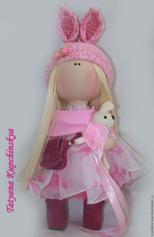 Коллекционные куклы ручной работы. Ярмарка Мастеров - ручная работа. Купить Куколка Зайка. Handmade. Розовый, интерьерная кукла