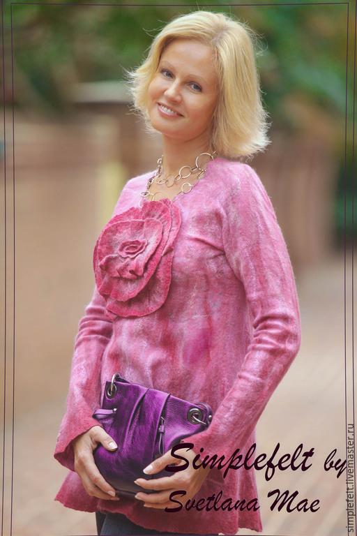 """Кофты и свитера ручной работы. Ярмарка Мастеров - ручная работа. Купить Валяная туника """"Портрет Розы"""". Handmade. Розовый"""