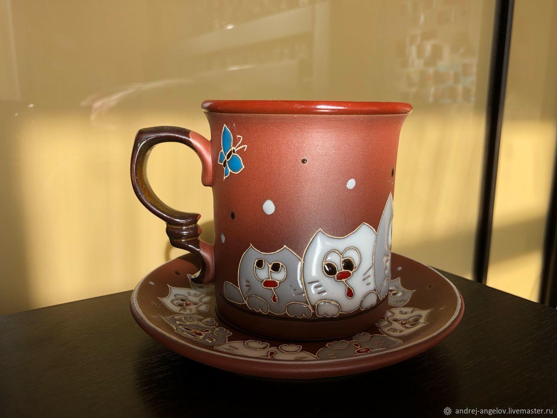 Ceramic decorative vase handmade: Curious cats, Single Tea Sets, Krasnodar,  Фото №1