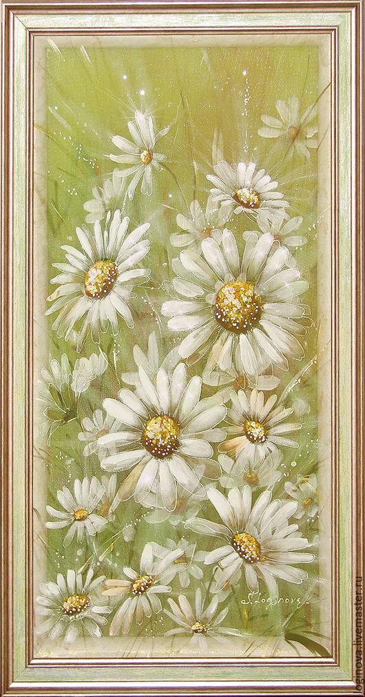 """Картины цветов ручной работы. Ярмарка Мастеров - ручная работа. Купить Картина на шелке трехслойная """"Белые ромашки"""". Handmade."""