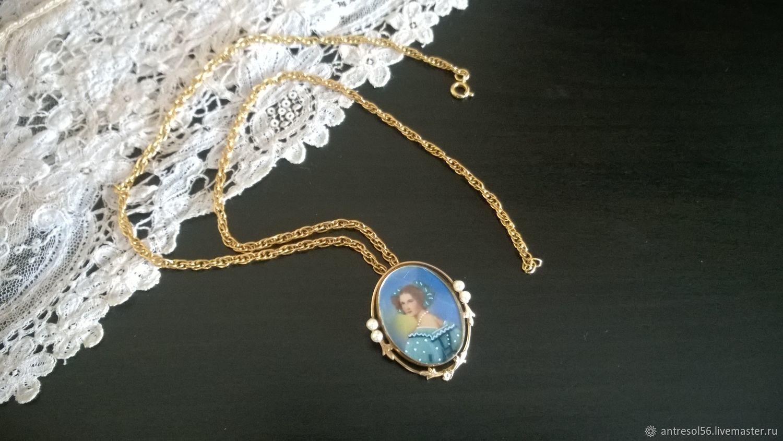 Pendant 'Lady in a blue dress', Vintage necklace, Orenburg,  Фото №1
