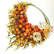 Украшения handmade. Livemaster - original item Tangerine Parfait. Necklace from natural agate, the flowers from fabric. Handmade.