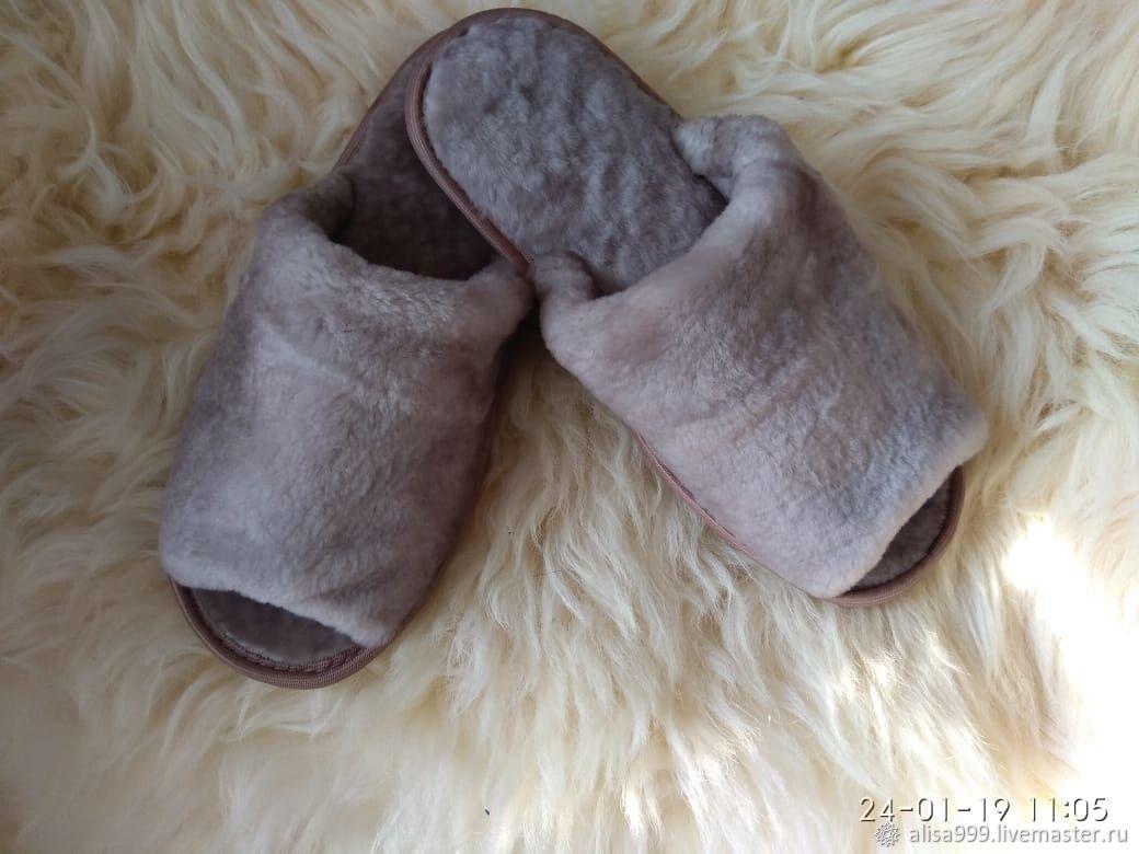 Men's sheepskin Slippers open, Slippers, Moscow,  Фото №1