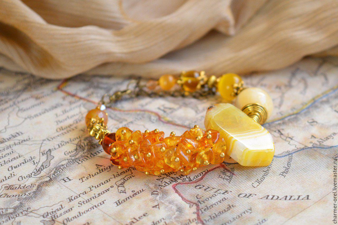 Браслет Сладкий мед, браслет из янтаря