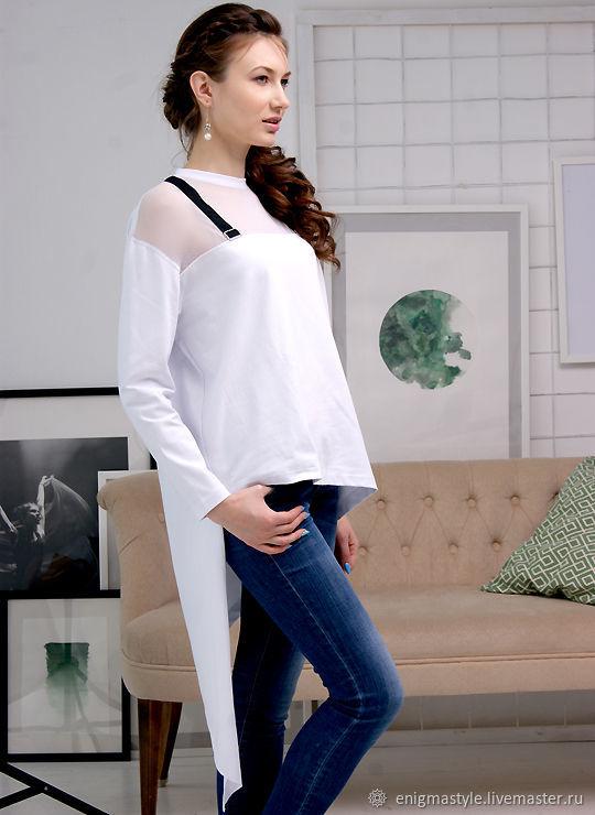 White women's t-shirt with asymmetrical hem, asymmetric t-shirt, T-shirts, Novosibirsk,  Фото №1