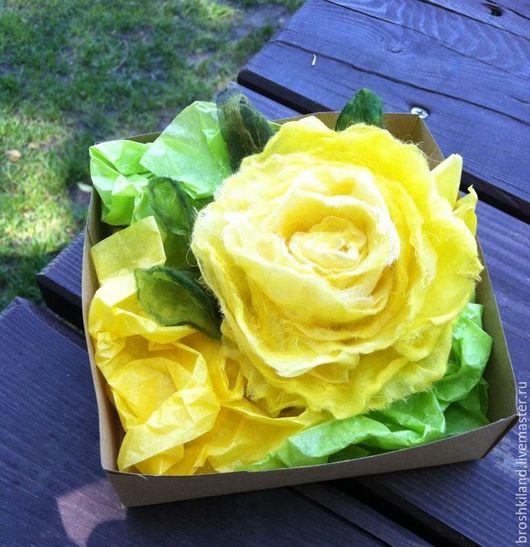"""Броши ручной работы. Ярмарка Мастеров - ручная работа. Купить Брошь """"Солнечная роза"""". Handmade. Желтый, подарок женщине"""