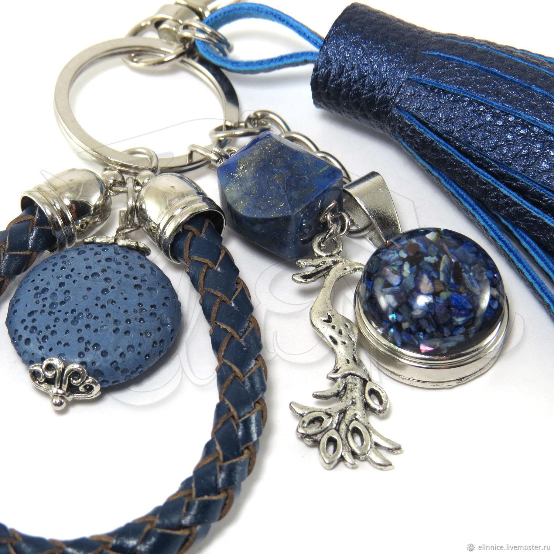 """Брелок """"Синяя птица"""". брелок для ключей. Синий брелок"""