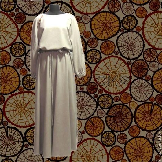 """Платья ручной работы. Ярмарка Мастеров - ручная работа. Купить Платье """"В народном духе"""". Handmade. Серый, длинное, хлопок"""