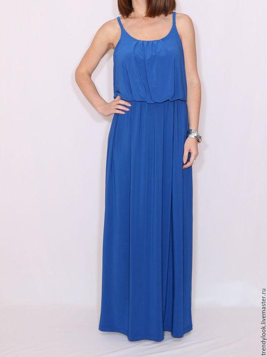 Платья ручной работы. Ярмарка Мастеров - ручная работа. Купить Ярко-синее Платье летнее сарафан на бретельках. Handmade. Синий
