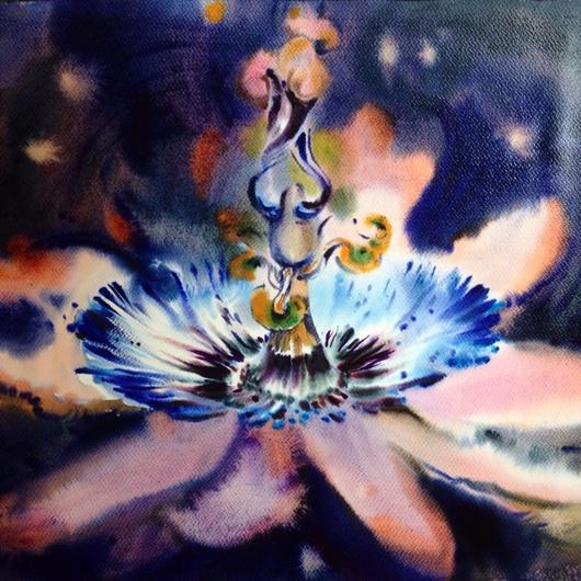 Картины цветов ручной работы. Ярмарка Мастеров - ручная работа. Купить Акварель пассифлора. Handmade. Акварель, цветок, пассифлора, картина