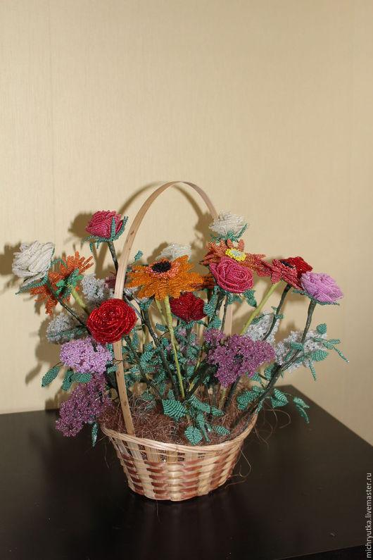 Персональные подарки ручной работы. Ярмарка Мастеров - ручная работа. Купить корзина цветов. Handmade. Комбинированный, Праздник, проволока флористическая