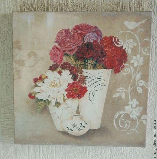 """Натюрморт ручной работы. Ярмарка Мастеров - ручная работа. Купить Картины - панно парные  """"Винтажный натюрморт"""" картина цветы. Handmade."""