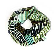 Аксессуары ручной работы. Ярмарка Мастеров - ручная работа Шарф-снуд «Дыхание весны»! абстрактные полоски зеленый синий. Handmade.