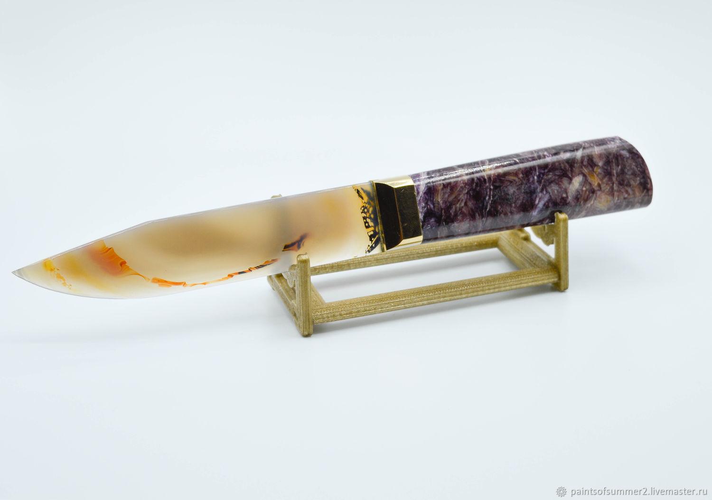 Нож из натурального камня (Чароит/Агат), Ножи, Москва,  Фото №1