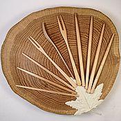 Utensils handmade. Livemaster - original item Dessert forks and sticks Maple. Handmade.