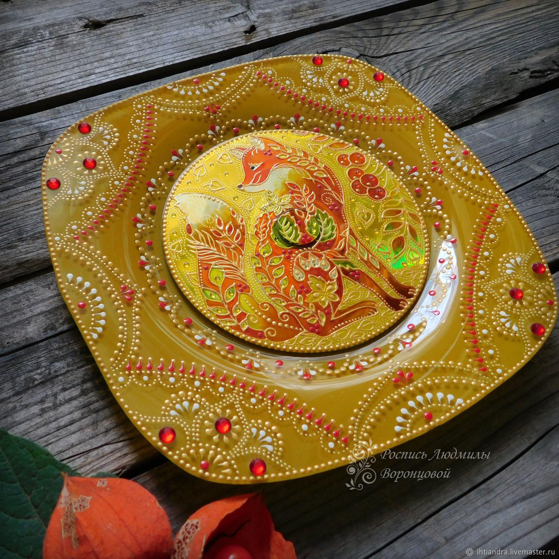 Рыжая Осень Декоративная тарелка  Витражная роспись, Тарелки, Ставрополь,  Фото №1