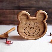 Посуда ручной работы. Ярмарка Мастеров - ручная работа Детская деревянная тарелка Мишка. Handmade.