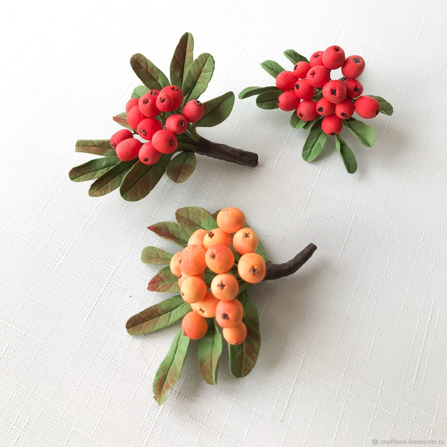 Brooch ' Sprig of mountain ash», Brooches, Voskresensk,  Фото №1