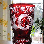 Винтаж ручной работы. Ярмарка Мастеров - ручная работа Рубиновая ваза-кубок 11,8 см Эгерманн 1960-е. Handmade.