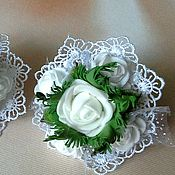 Работы для детей, handmade. Livemaster - original item Clip to school on September 1, with lace and roses from Tamarana. Handmade.