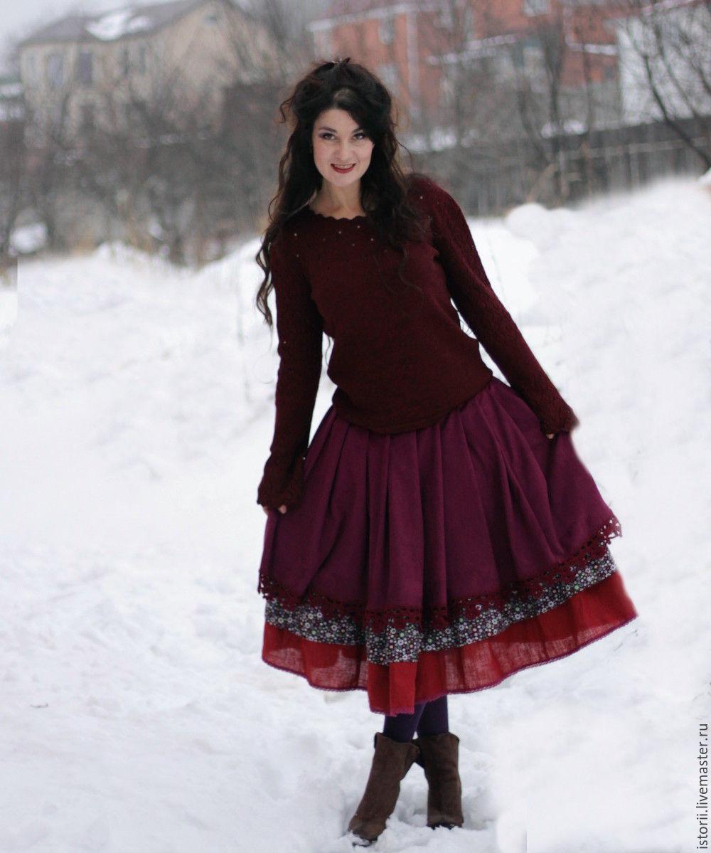 Бохо-юбка винного цвета из замши, Юбки, Белгород,  Фото №1