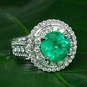 Украшения handmade. Livemaster - original item 5.19tcw Contemporary Rare Emerald And White Diamond Cluster Engagement. Handmade.