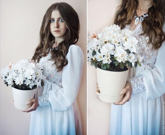 Платья ручной работы. Ярмарка Мастеров - ручная работа. Купить Будуарное платье белоснежное. Handmade. Белое платье, платье из кружева