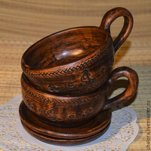 Чашка с блюдцем - оберег, гончарная керамика