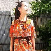 Одежда ручной работы. Ярмарка Мастеров - ручная работа Оранжевое почти индийское платье. Handmade.
