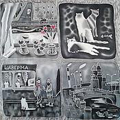 """Аксессуары ручной работы. Ярмарка Мастеров - ручная работа Шелковый шарф """"ИЗ ПЕТЕРБУРГА, С ЛЮБОВЬЮ И БЕЗНАДЕЖНОСТЬЮ"""" #1. Батик. Handmade."""
