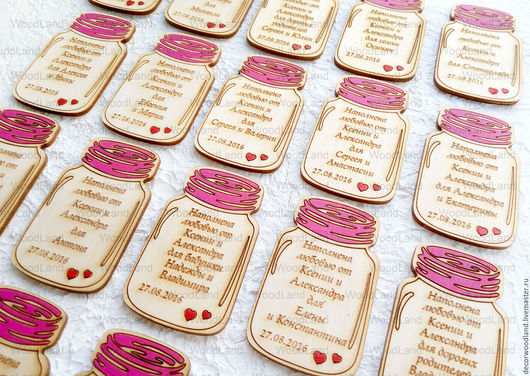 """Подарки на свадьбу ручной работы. Ярмарка Мастеров - ручная работа. Купить Магниты на свадьбу """"Баночка варенья"""". Handmade. Бледно-розовый"""