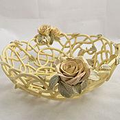 Посуда handmade. Livemaster - original item The bottom Vanilla and roses. Handmade.