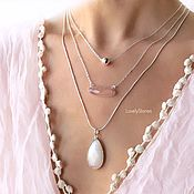 Украшения handmade. Livemaster - original item A set of chains with the Morning dew - rose quartz, white jade. Handmade.