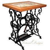 Для дома и интерьера ручной работы. Ярмарка Мастеров - ручная работа Столик из бука со стеклом на станине от швейной машины Kayser. Handmade.