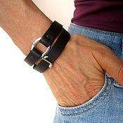 Украшения handmade. Livemaster - original item Leather Winding bracelet black with a musical note unisex. Handmade.