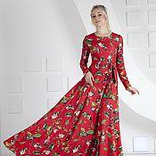 Одежда ручной работы. Ярмарка Мастеров - ручная работа Платье красное с цветочным рисунком. Handmade.