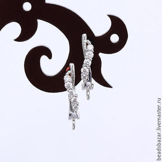 Для украшений ручной работы. Ярмарка Мастеров - ручная работа. Купить Швензы с фианитами, серебро.. Handmade. Серебряный, швензы