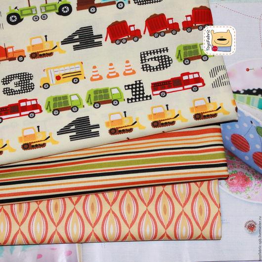 Шитье ручной работы. Ярмарка Мастеров - ручная работа. Купить Набор тканей для пэчворка Машинки (51724). Handmade. Ткань для творчества