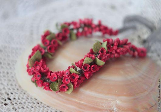 """Колье, бусы ручной работы. Ярмарка Мастеров - ручная работа. Купить """"Красное"""". Handmade. Ярко-красный, красные цветы"""