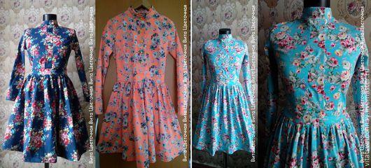 Платья ручной работы. Ярмарка Мастеров - ручная работа. Купить Джинсовое платье в цветочек. Handmade. Голубой, джинсовая ткань