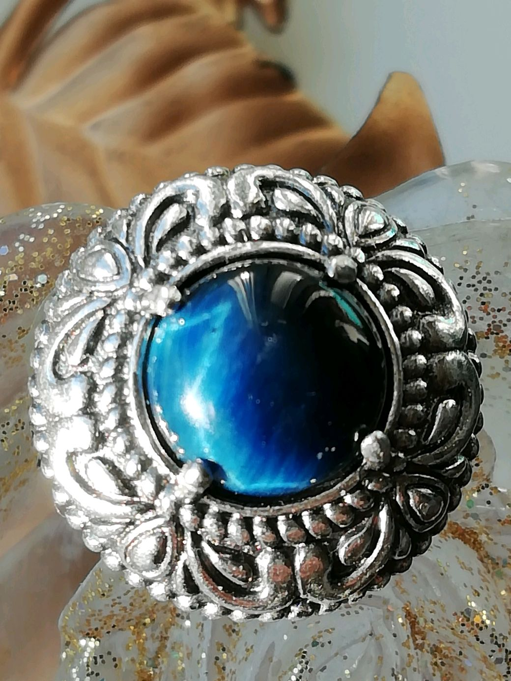 with a natural tiger eye ' BLUE EYE'', Rings, Moscow,  Фото №1
