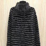 Меховое пальто комбинированное черно-серое