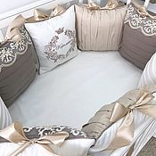 Работы для детей, handmade. Livemaster - original item Bed set and bumpers in the crib