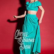Одежда ручной работы. Ярмарка Мастеров - ручная работа Зеленый макси бохо набор, испанская юбка, топ с оборкой. Handmade.