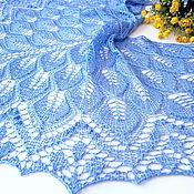 Аксессуары ручной работы. Ярмарка Мастеров - ручная работа Шаль ажурная  вязаная спицами Незабудка, шелковая шаль. Handmade.